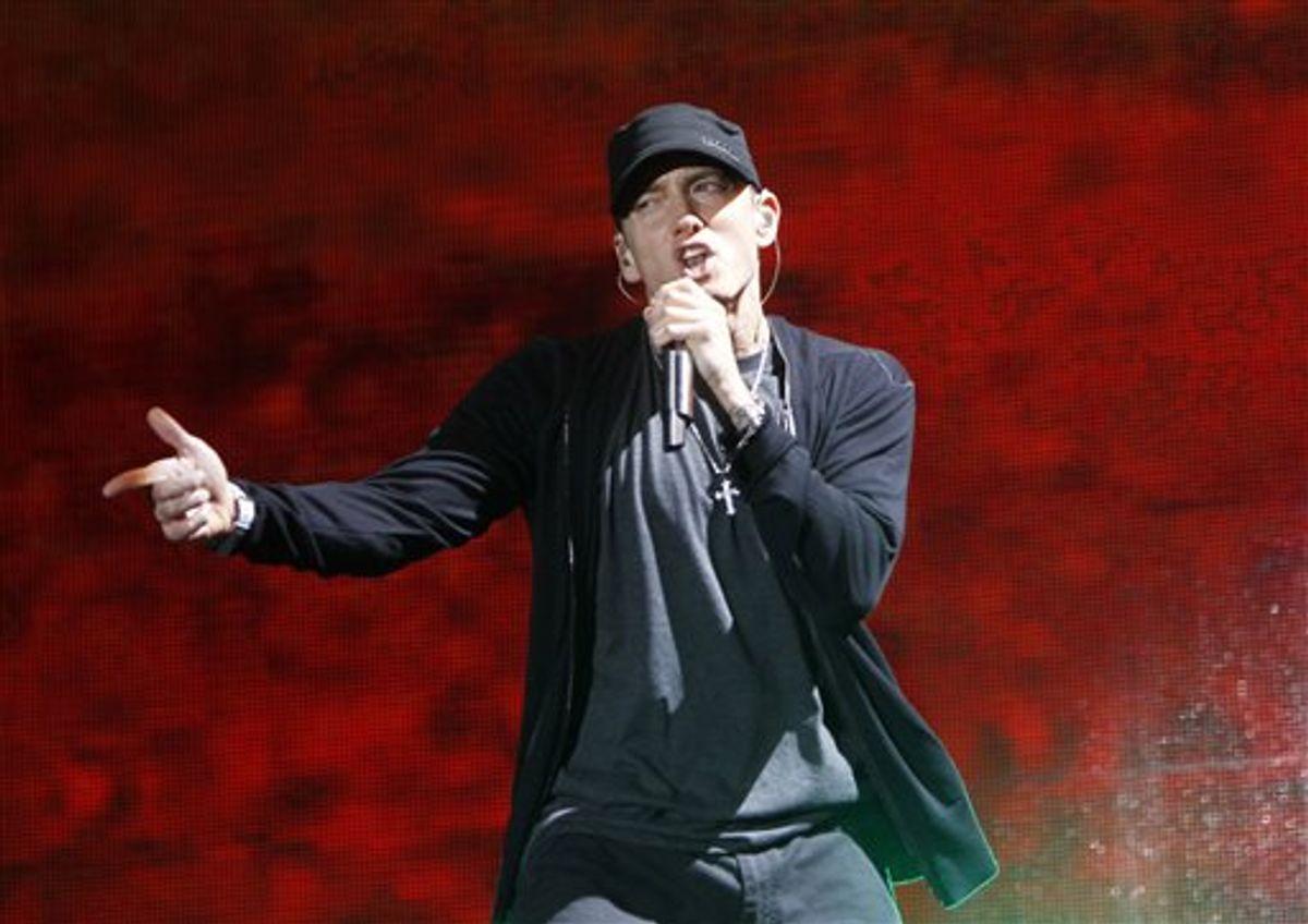 FILE - In this Sept. 13, 2010 file photo, rapper Eminem performs at Yankee Stadium in New York. (AP Photo/Jason DeCrow, file)     (AP)