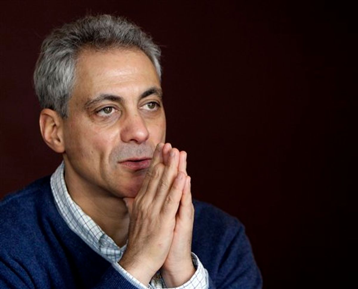 Chicago mayoral candidate Rahm Emanuel talks to reporters during an interview at 42 degrees North Latitude coffee shop in Chicago, Saturday, Feb. 12, 2011. (AP Photo/Nam Y. Huh)       (AP)