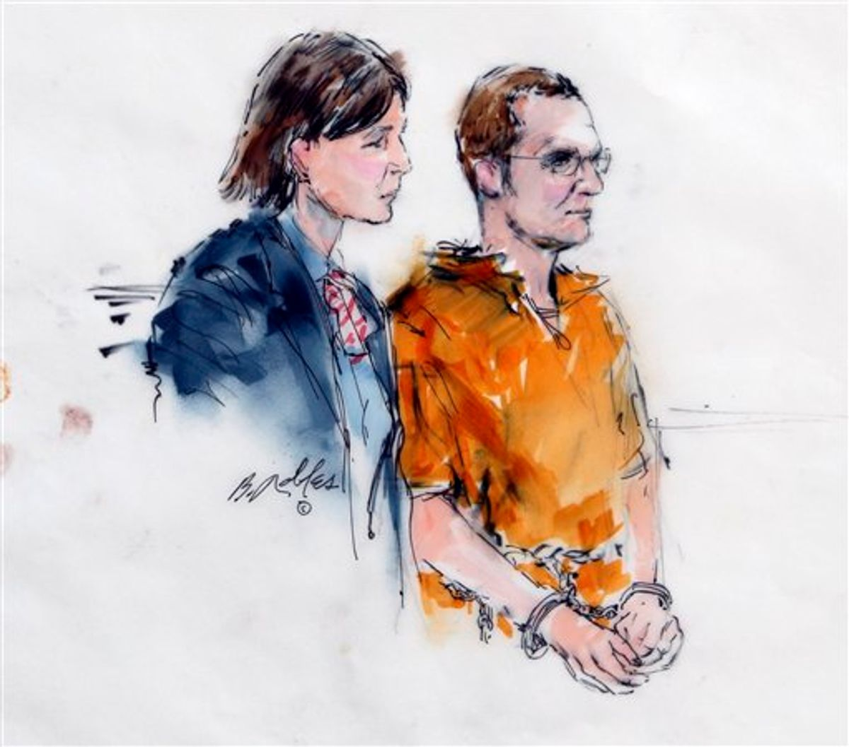 In this artist rendering, Jared Lee Loughner, right, makes a court appearance with his lawyer, Judy Clarke, at the Sandra Day O'Connor United States Courthouse in Phoenix, Ariz., Monday, Jan. 24, 2011. Loughner pled not guilty to charges he tried to kill U.S. Rep. Gabrielle Giffords, D-Ariz, in a shooting rampage that left six people dead. (AP Photo/Bill Robles)   (AP)