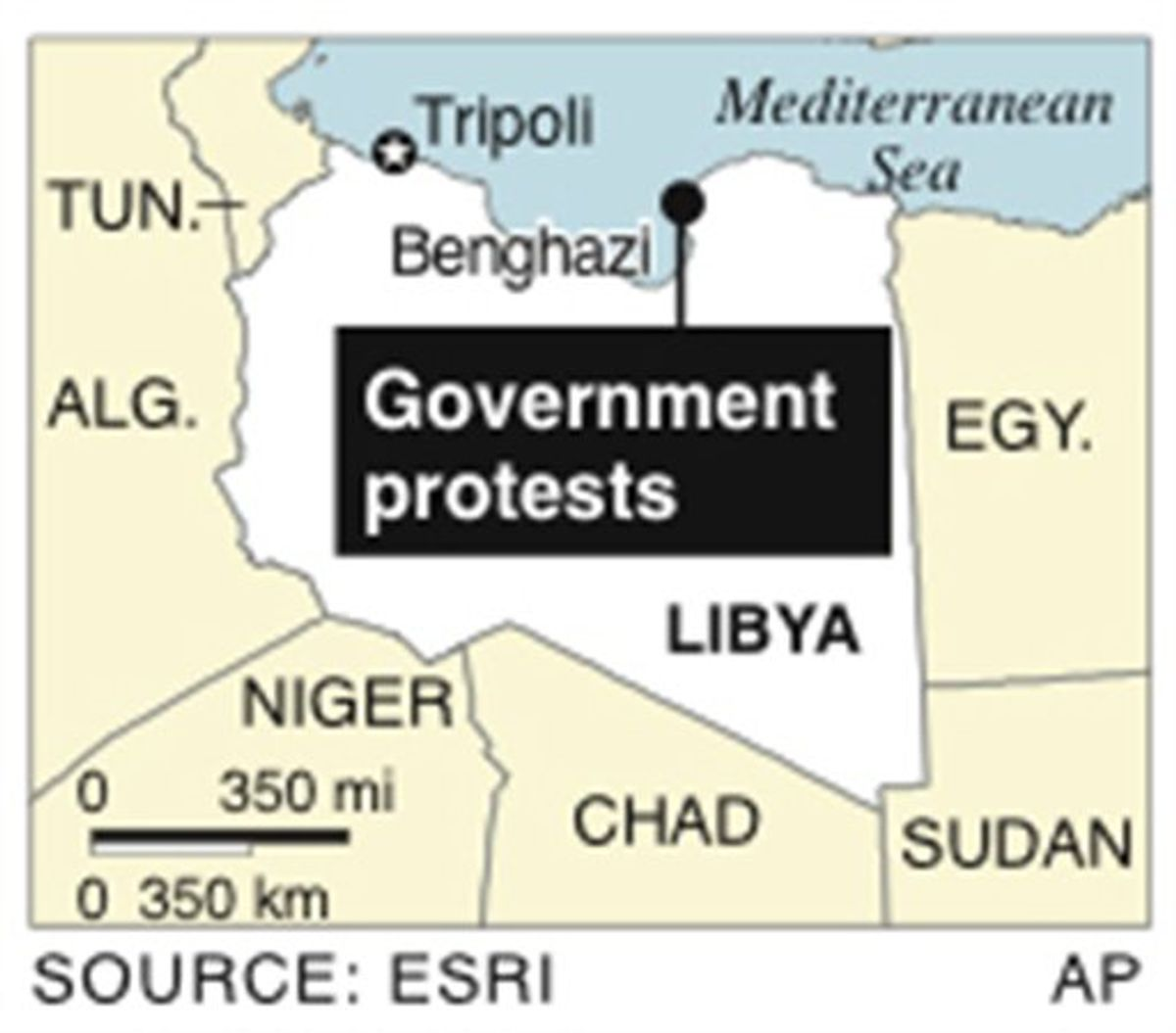 Map locates Benghazi, Libya, where there are protests to ouster the government (AP)
