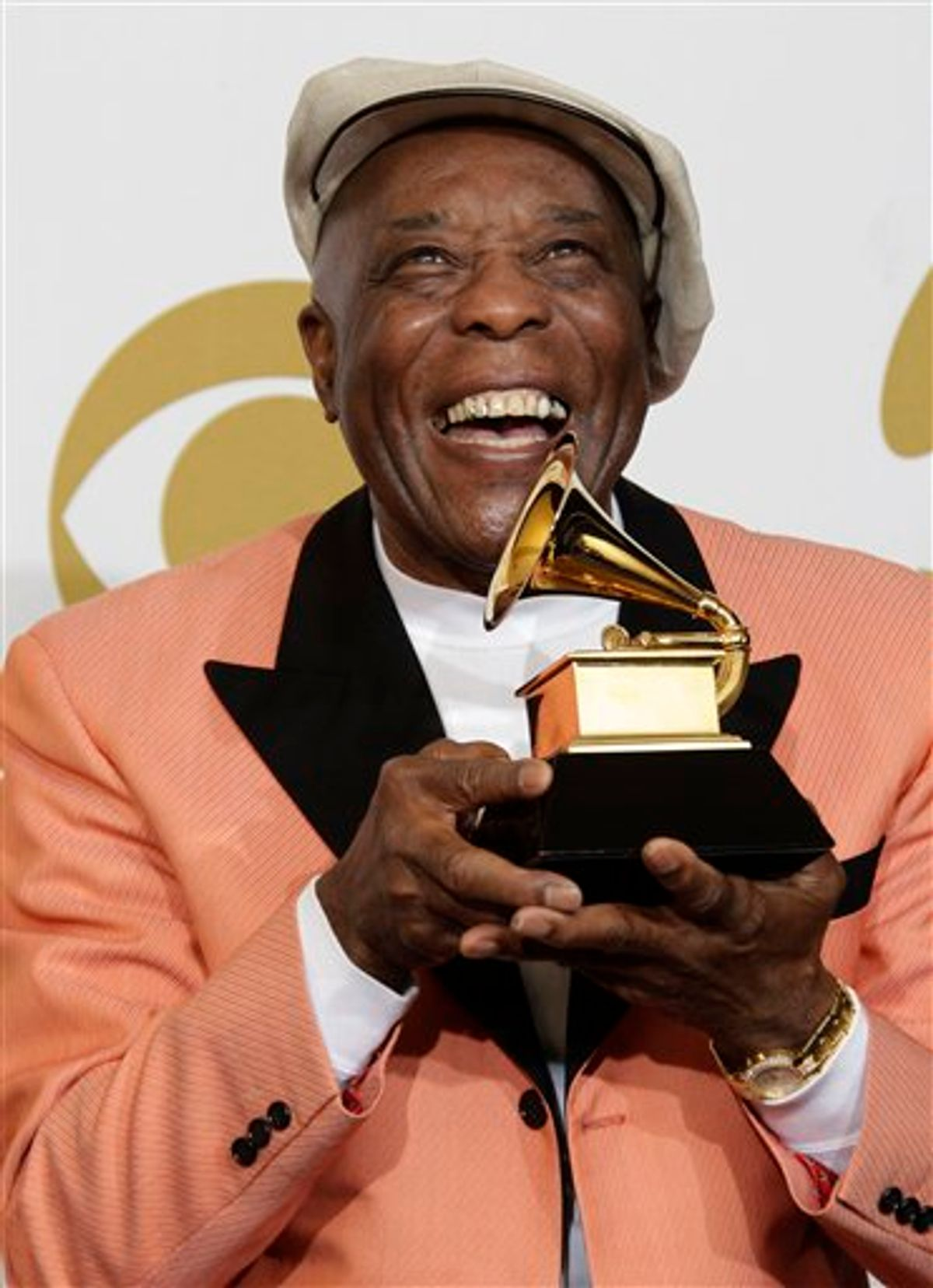 Buddy Guy poses backstage with the award for best contemporary blues album at the 53rd annual Grammy Awards on Sunday, Feb. 13, 2011, in Los Angeles. (AP Photo/Jae C. Hong) (AP)