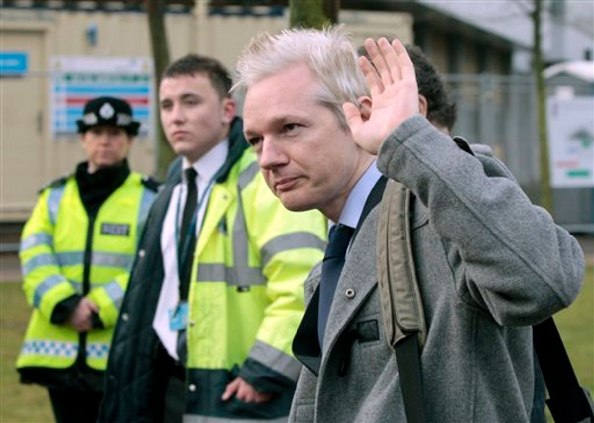 WikiLeaks founder Julian Assange arrives at Belmarsh Magistrate's court in London for his extradition hearing, Tuesday, Jan. 11, 2011. (AP)