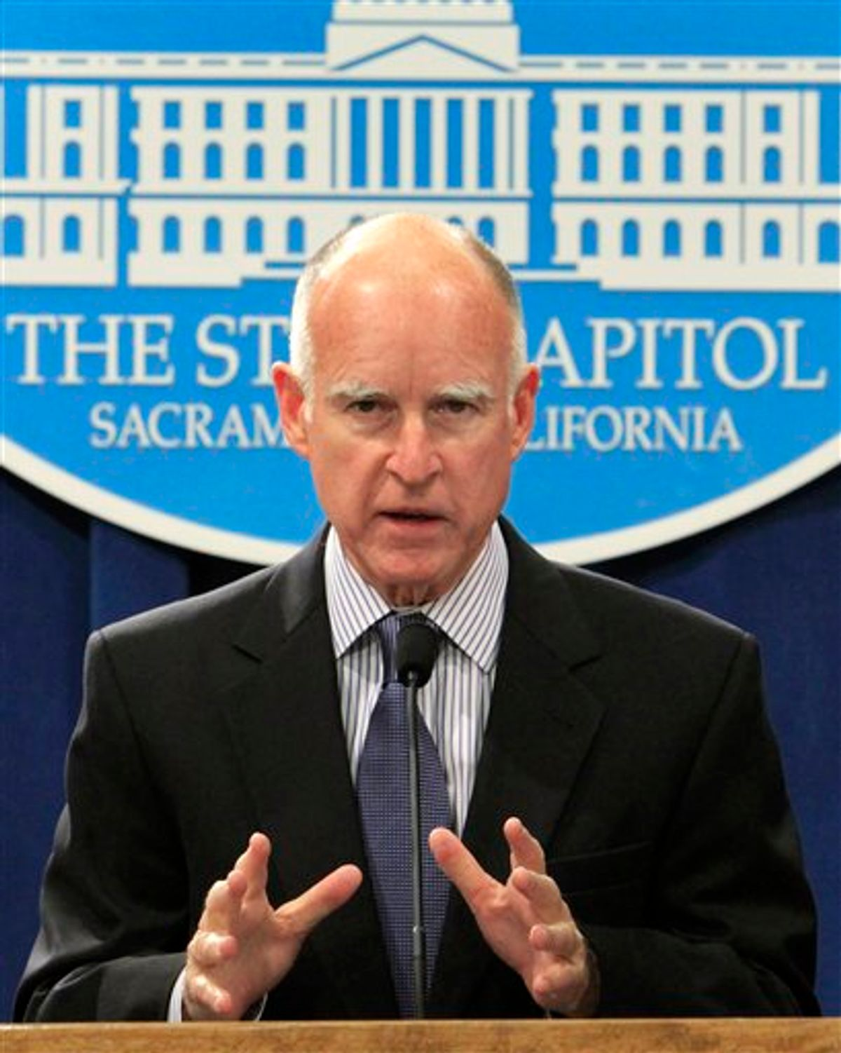 Gov. Jerry Brown announces that he is dropping a plan by former Gov. Arnold Schwarzengger to sell 24 state government buildings to private investors, during a Capitol news conference, in Sacramento, Calif., Wednesday, Feb. 9, 2011.  Brown said the plan to sell the buildings, for $2.3 billion and them  rent them back, didn't make any sense because of  the high cost of the rent. (AP Photo)  (AP)