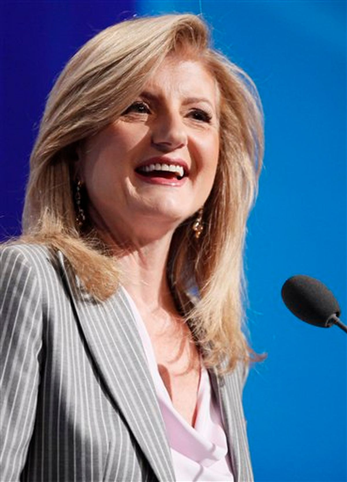 FILE - In this Sept. 23, 2010 file photo, Arianna Huffington speaks at the Clinton Global Initiative in New York.   It was announced Monday Feb. 7, 2011 that AOL Inc. is buying online news hub Huffington Post and that Huffington will be put in charge of AOL's growing array of content.  (AP Photo/Mark Lennihan, file) (AP)