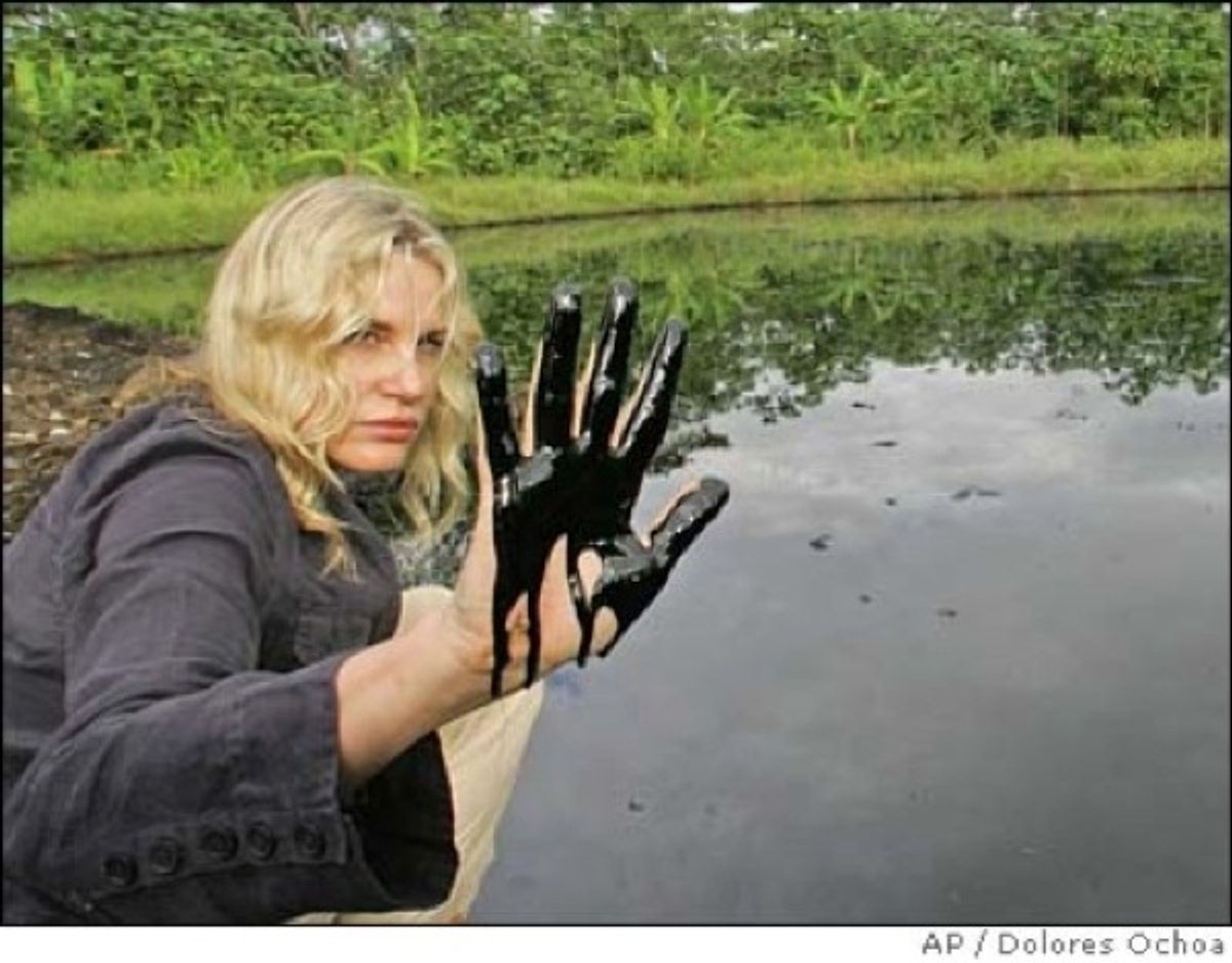 Actress Daryl Hannah visits Ecuador's oil region in June, 2010, where locals say drilling by Chevron caused irreparable environmental damage.