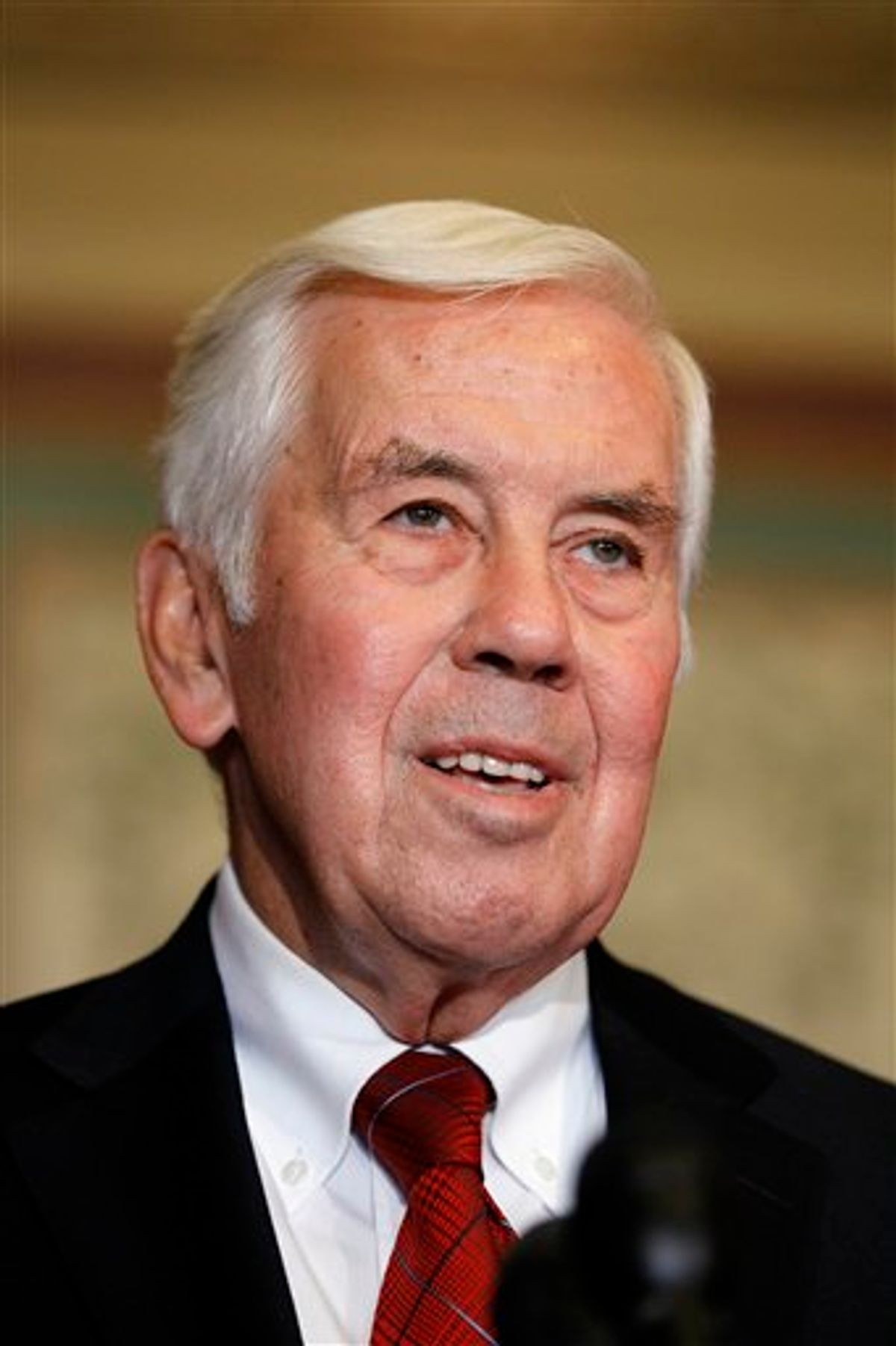 """FILE - In this Oct. 12, 2010, file photo, Chairman of the Senate Foreign Relations Committee Ranking Member, Sen. Richard Lugar, R-Ind., talks on Capitol Hill in Washington. What does a longtime Republican senator with a national reputation for working well with Democrats do in the face of a potentially career-ending tea party challenge? If you're Lugar, you tell them to """"get real."""" (AP Photo/Alex Brandon, File) (AP)"""