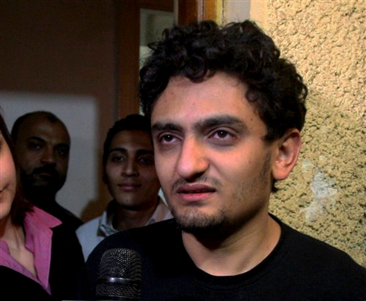 Egyptian Wael Ghonim, a Google Inc. marketing manager, talks at his home in Cairo, Egypt, Monday, Feb.7, 2011. A Google manager held in Egypt for about 10 days over anti-government protests was freed Monday.  (AP Photo/Ahmed Ali) (AP)