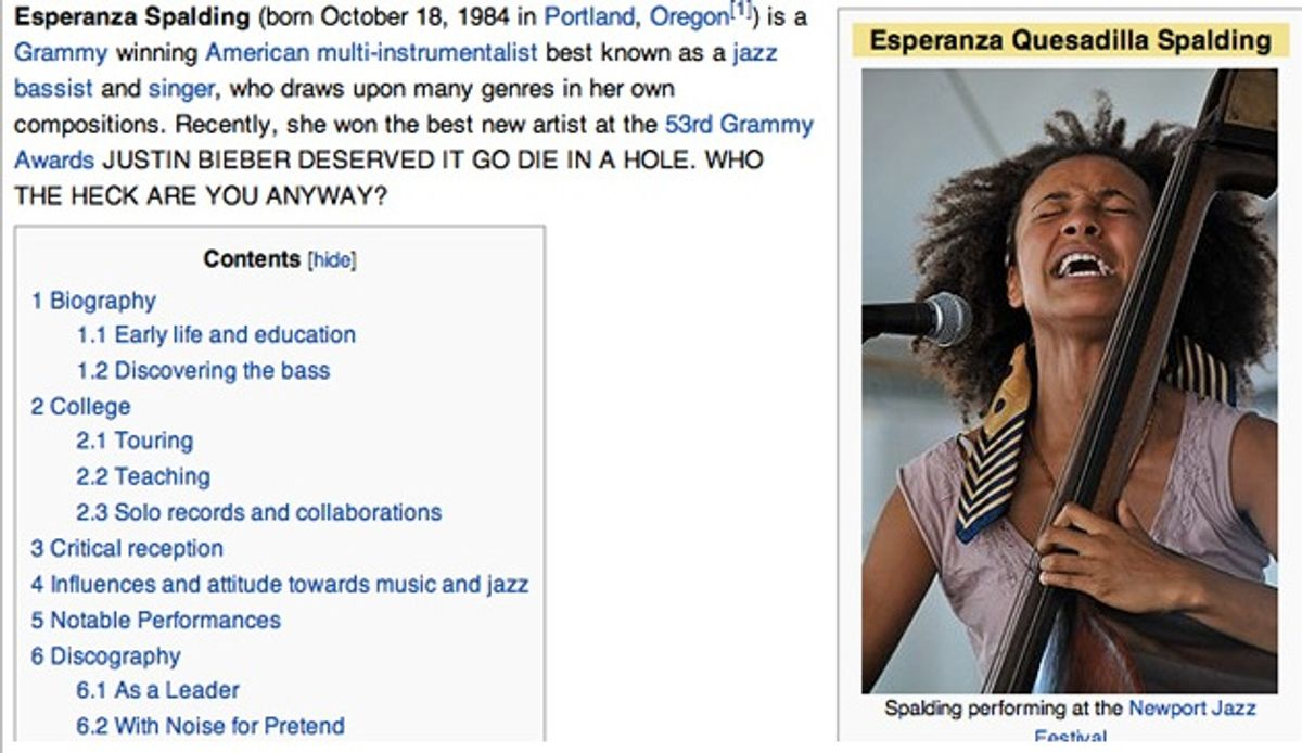 Esperanza Spalding's Wikipedia page after angry Bieber fans hacked the singer's site.