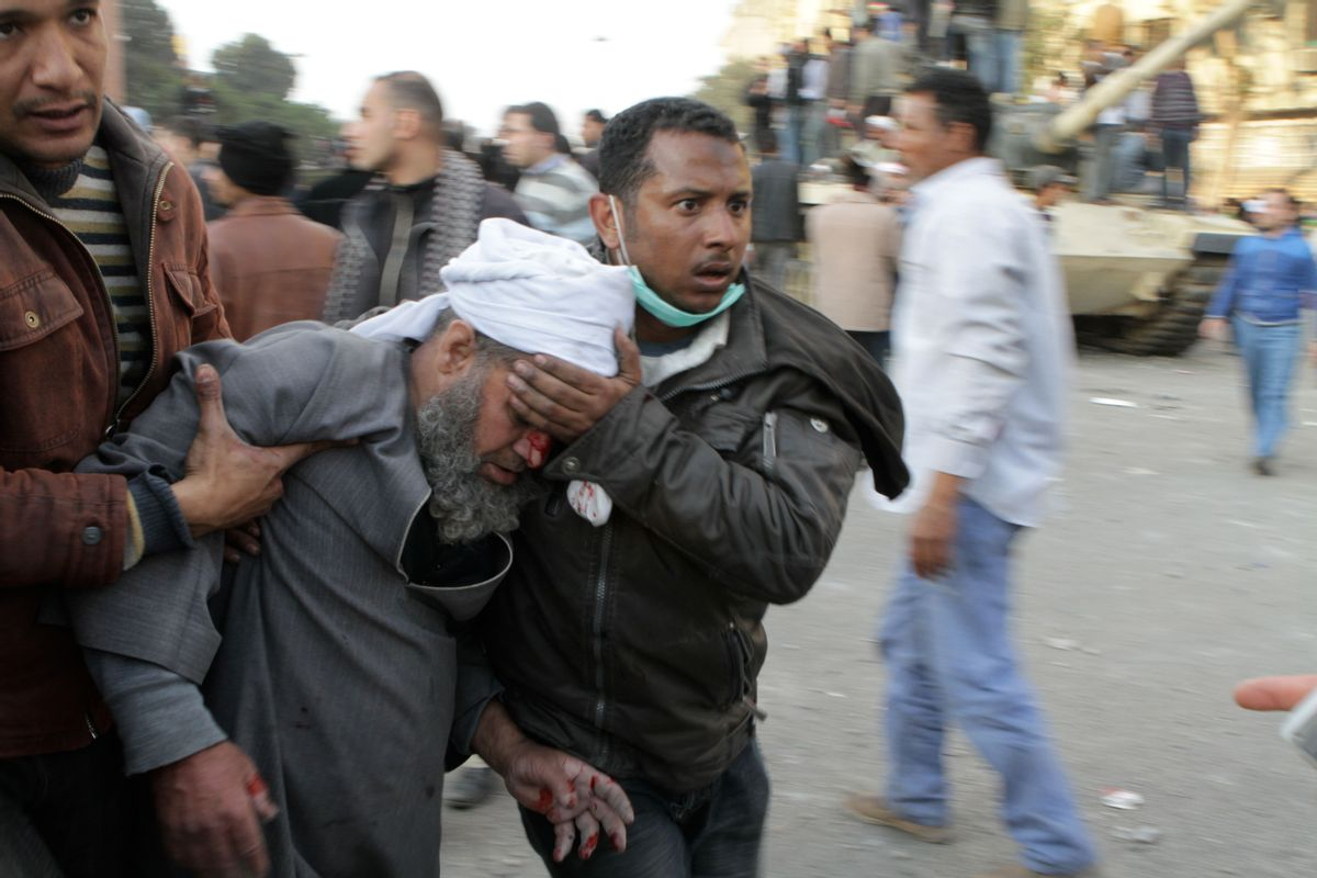 Violence erupts in Tahrir Square on February 2, 2010 (Sarah Carr)