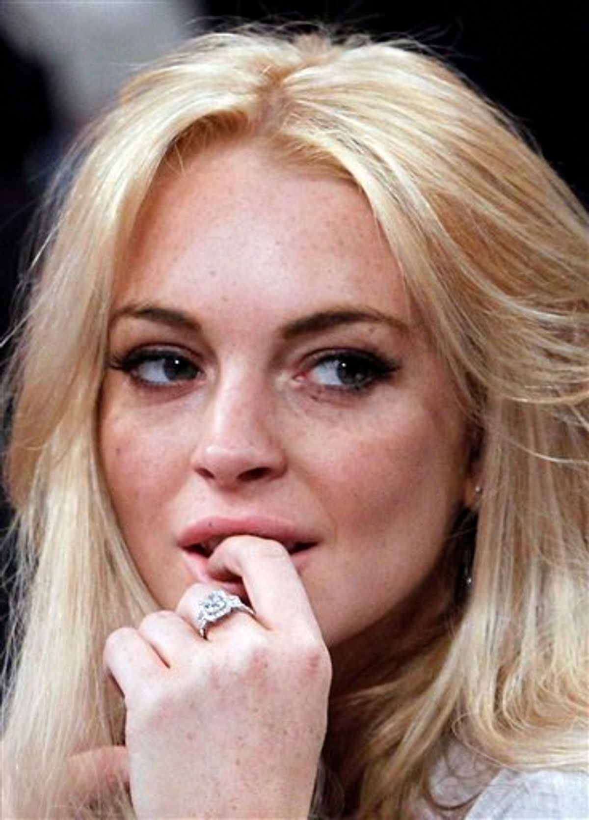 FILE - In this Jan. 9, 2011 file photo, Lindsay Lohan attends the Los Angeles Lakers New York Knicks NBA basketball game in Los Angeles. (AP Photo/Alex Gallardo, File) (AP)