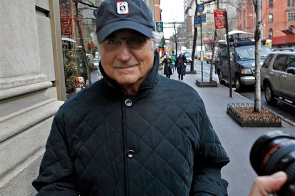 Bernard Madoff, chairman of Madoff Investment Securities, returns to his Manhattan apartment after making a court appearance Wednesday, Dec. 17, 2008 in New York.  The judge in Madoff's fraud case has set new conditions for his bail, including a curfew and ankle-monitoring bracelet for the disgraced investor. (AP Photo/Jason DeCrow)    (Jason Decrow)