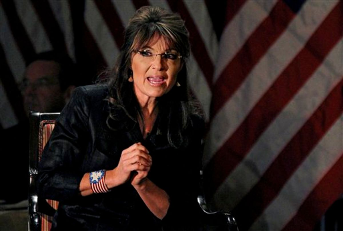 Former Alaska Gov, Sarah Palin answers questions during a public appearance at Long Island (LIA) Association Meeting and Luncheon in Woodbury, N.Y. Thursday, Feb. 17, 2011.  (AP Photo/Craig Ruttle) (AP)