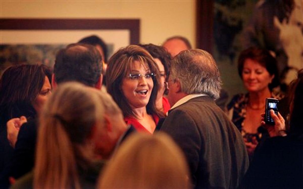 Former Republican Vice Presidential candidate and Alaskan Gov. Sarah Palin greets guests after speaking at the Reagan Ranch Center in Santa Barbara, Friday Feb. 4, 2011. Palin was the headline speaker for  the Ronald Reagan Centennial celebration opening reception hosted by the Young Americans Foundation.  (AP Photo/ Spencer Weiner) (AP)