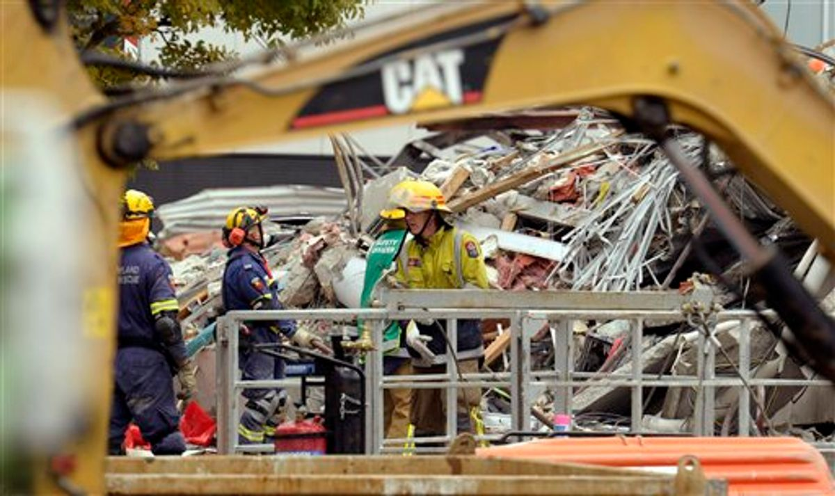 Rescue workers clear rubble at the CTV building in Christchurch, New Zealand , Friday, Feb. 25, 2011 in Christchurch,  after the city was hit by a 6.3 earthquake Tuesday, Feb 22.  The temblor struck Christchurch near lunchtime on Tuesday, collapsing buildings and causing massive damage in one of the country's worst natural disasters. (AP Photo/Rob Griffith) (AP)