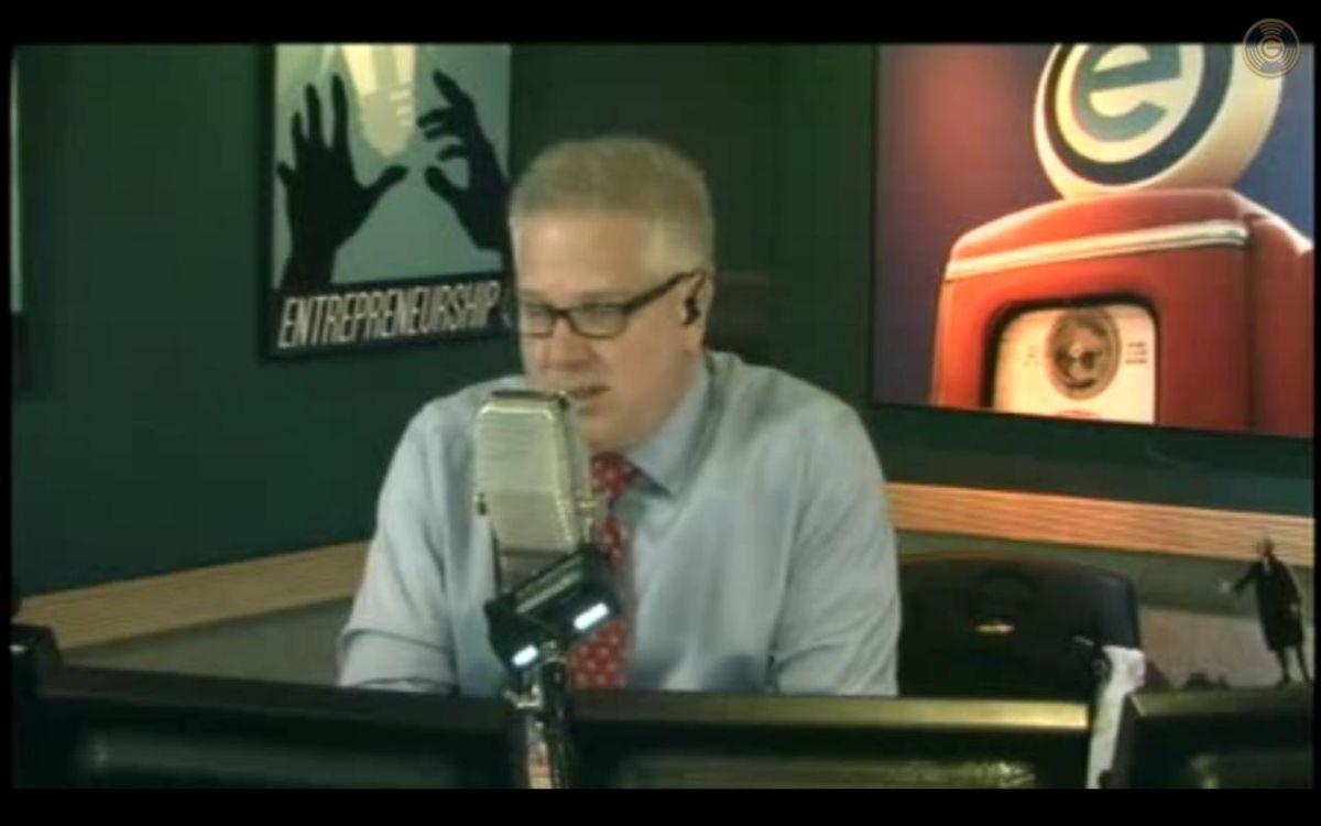 Glenn Beck in his radio studio