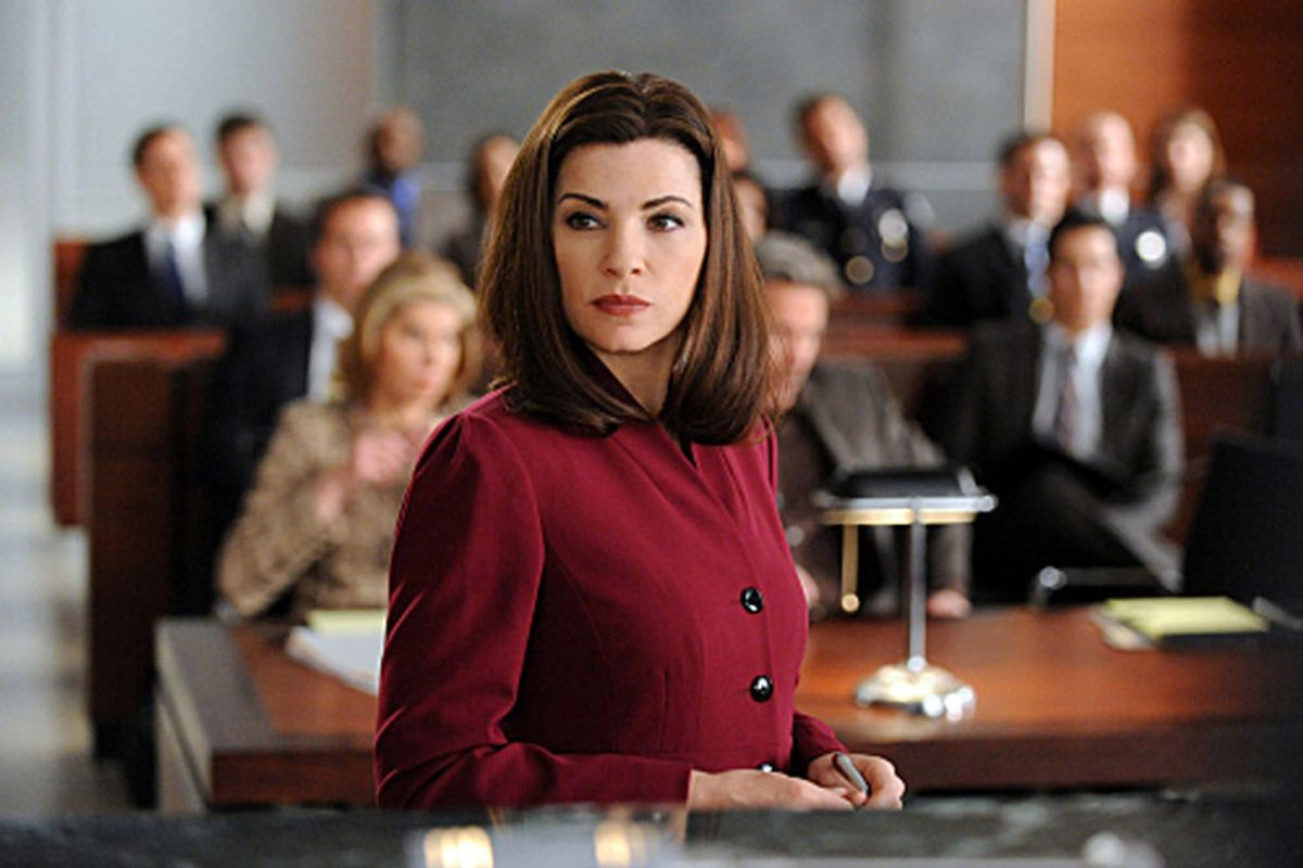 """""""Last Shot""""--Alicia Florrick (Julianna Margulies) assists in the trial of ballistics expert Kurt McVeigh, Diane's on and off-again love interest, who is being sued for testimony that he gave in a murder trial of an accused cop killer who was recently exonerated, on THE GOOD WIFE, Tuesday, Feb. 22 (10:00-11:00 PM, ET/PT) on the CBS Television Network.  Photo: David M. Russell/CBS ©2011 CBS Broadcasting Inc. All Rights Reserved. (David M. Russell)"""