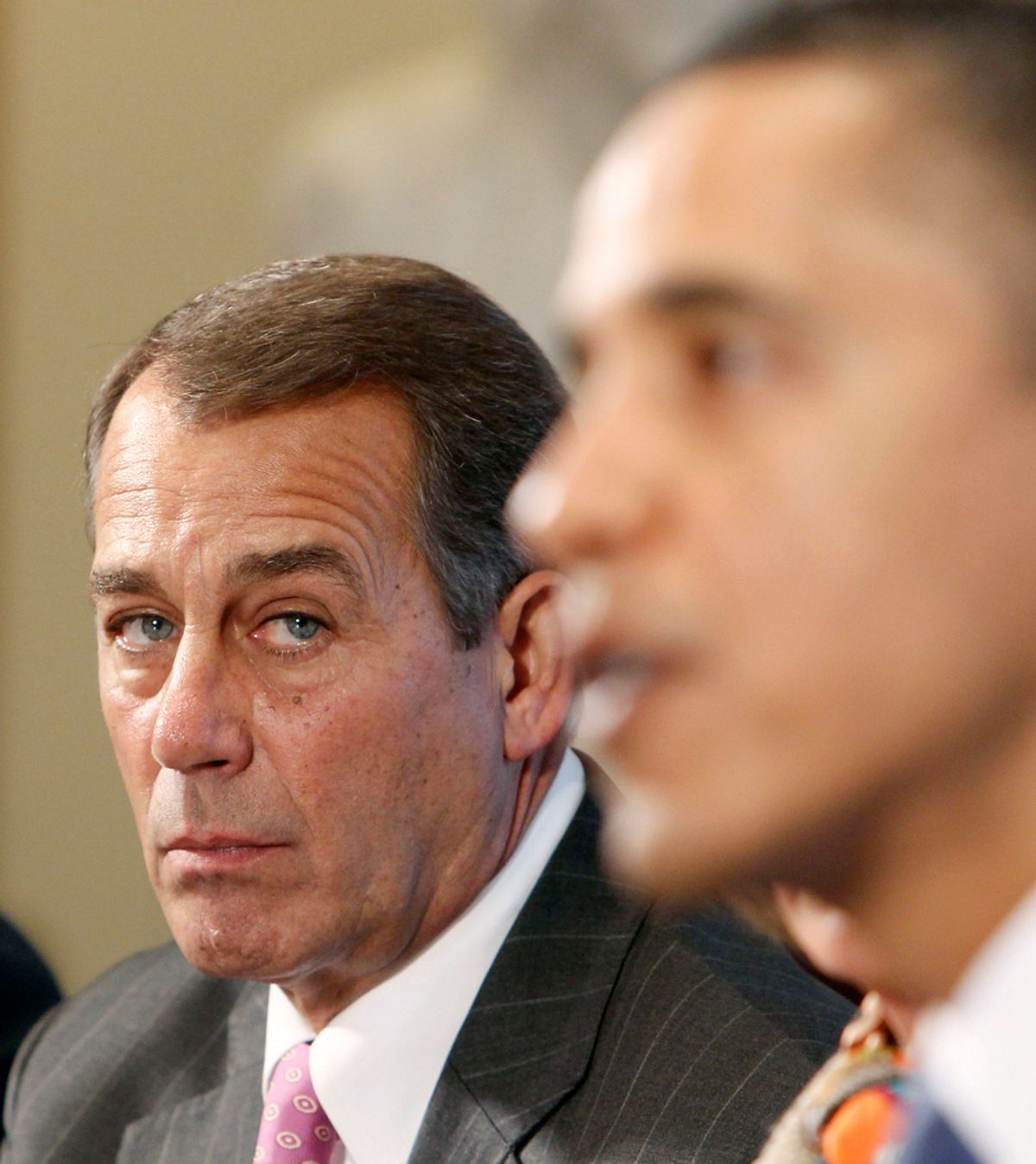 House Minority Leader John Boehner (L) listens to U.S. President Barack Obama talk with bipartisan leaders of the House and the Senate about the economy in the Cabinet Room of the White House in Washington, February 9, 2010.    REUTERS/Larry Downing  (UNITED STATES - Tags: POLITICS)   (© Larry Downing / Reuters)
