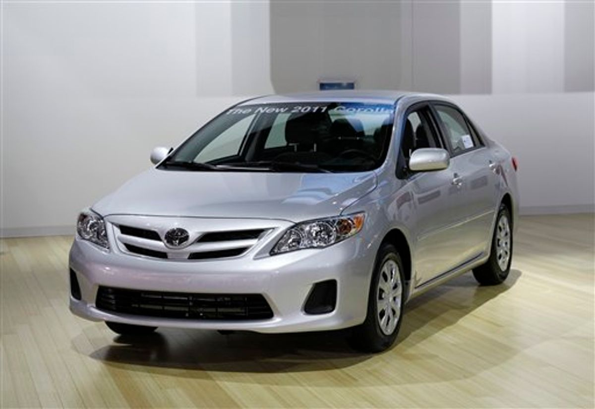 In this Jan. 11, 2011 photo, the 2011 Toyota Corolla is shown at the North American International Auto Show in Detroit. Toyota sold 20,581 Corollas, up 20.2 percent, and 10,635 of its fuel-efficient Prius, up 25.4 percent in the month of Jan., 2011. (AP Photo/Paul Sancya)  (AP)