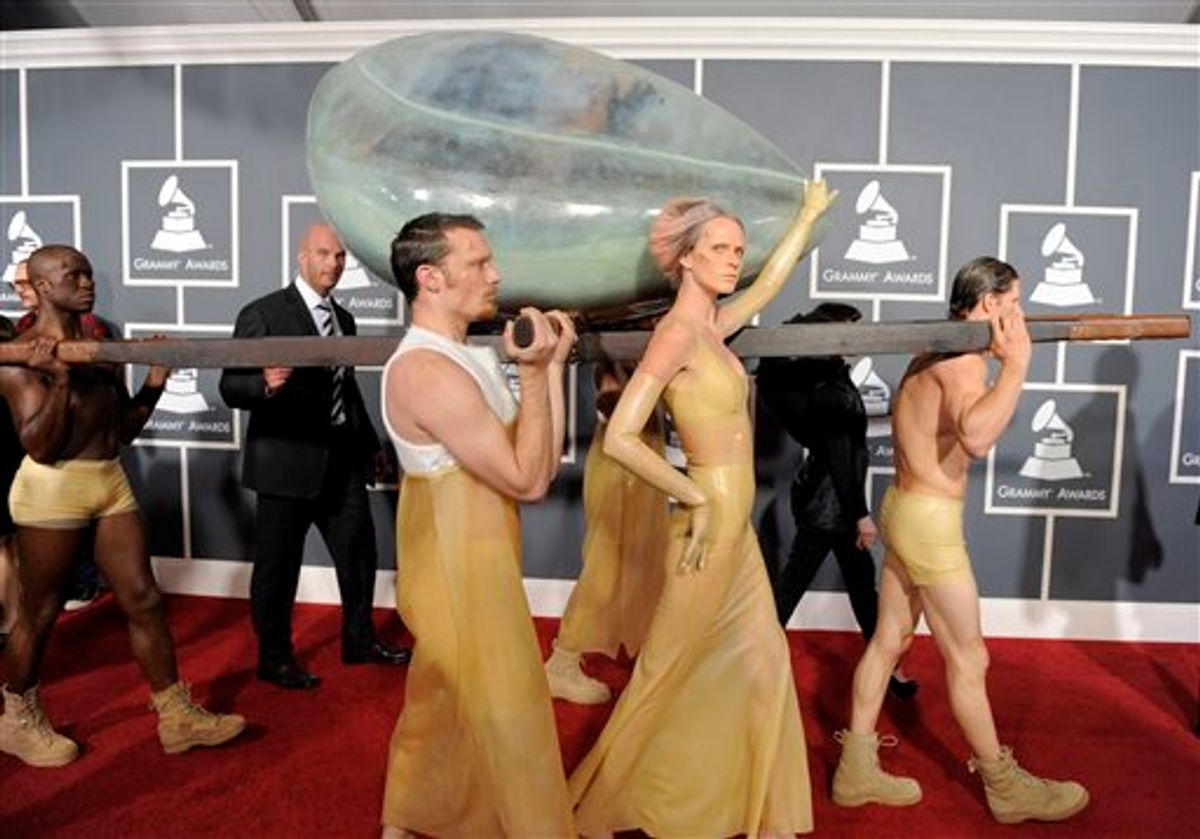 Lady Gaga arrives at the 53rd annual Grammy Awards on Sunday, Feb. 13, 2011, in Los Angeles. (AP Photo/Chris Pizzello) (AP)