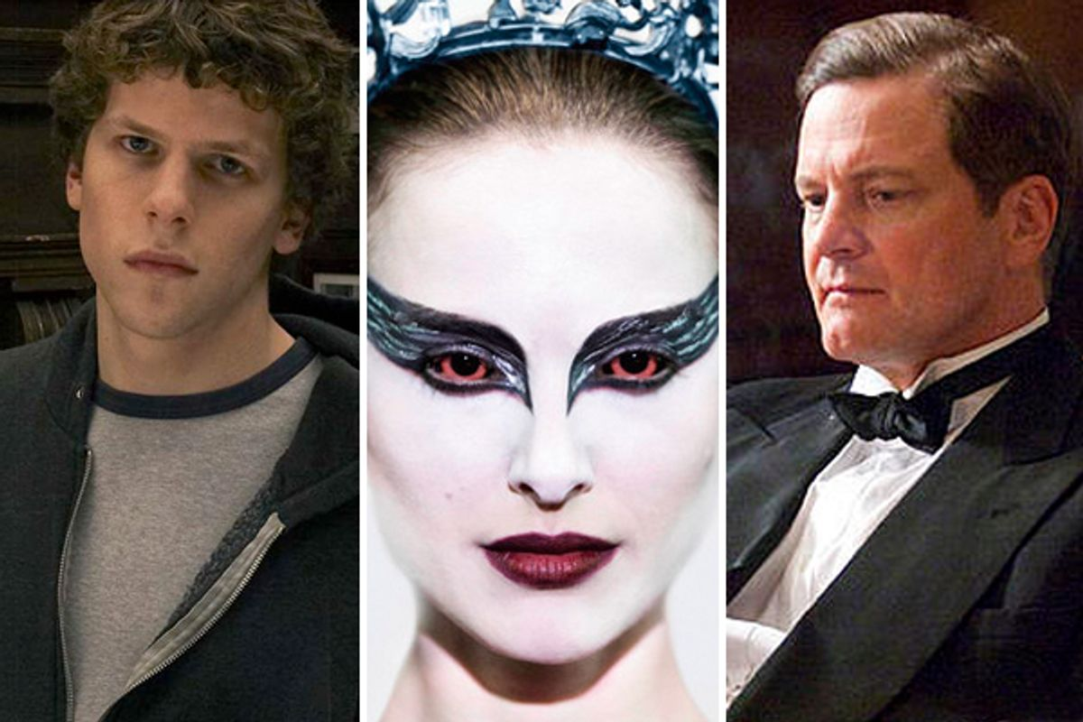 """Stills from """"Social Network,"""" """"Black Swan,"""" and """"The King's Speech"""""""