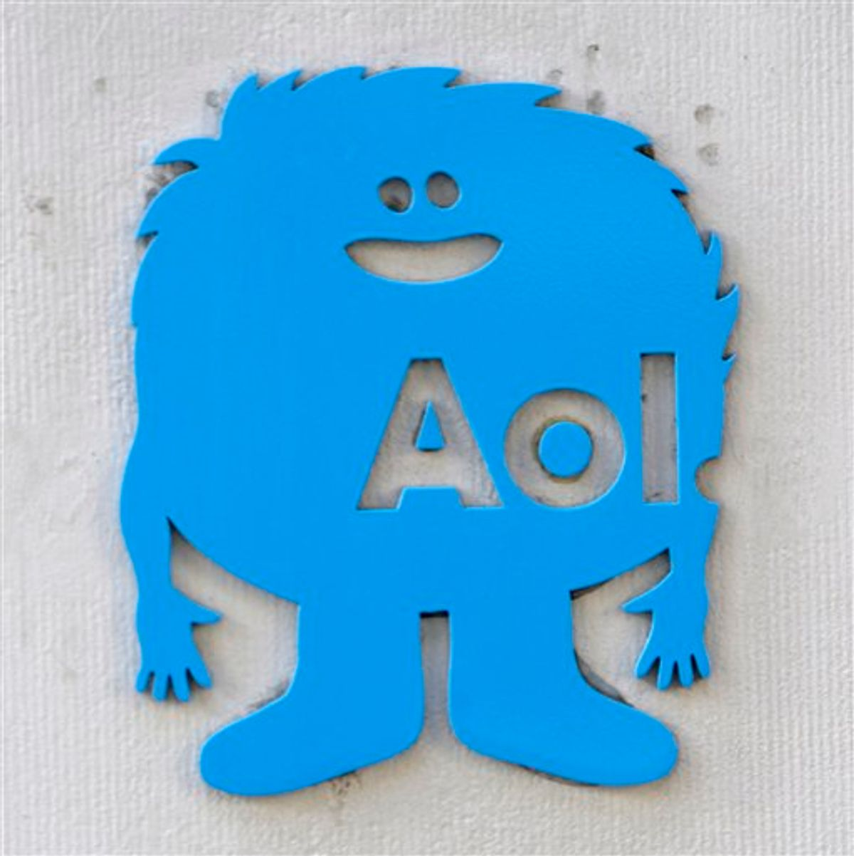 A small AOL placard is displayed on their offices in New York, Monday, Feb. 7, 2011. Internet company AOL Inc. is buying news hub Huffington Post in a $315 million deal that represents a bold bet on the future of online news. (AP Photo/Seth Wenig) (AP)
