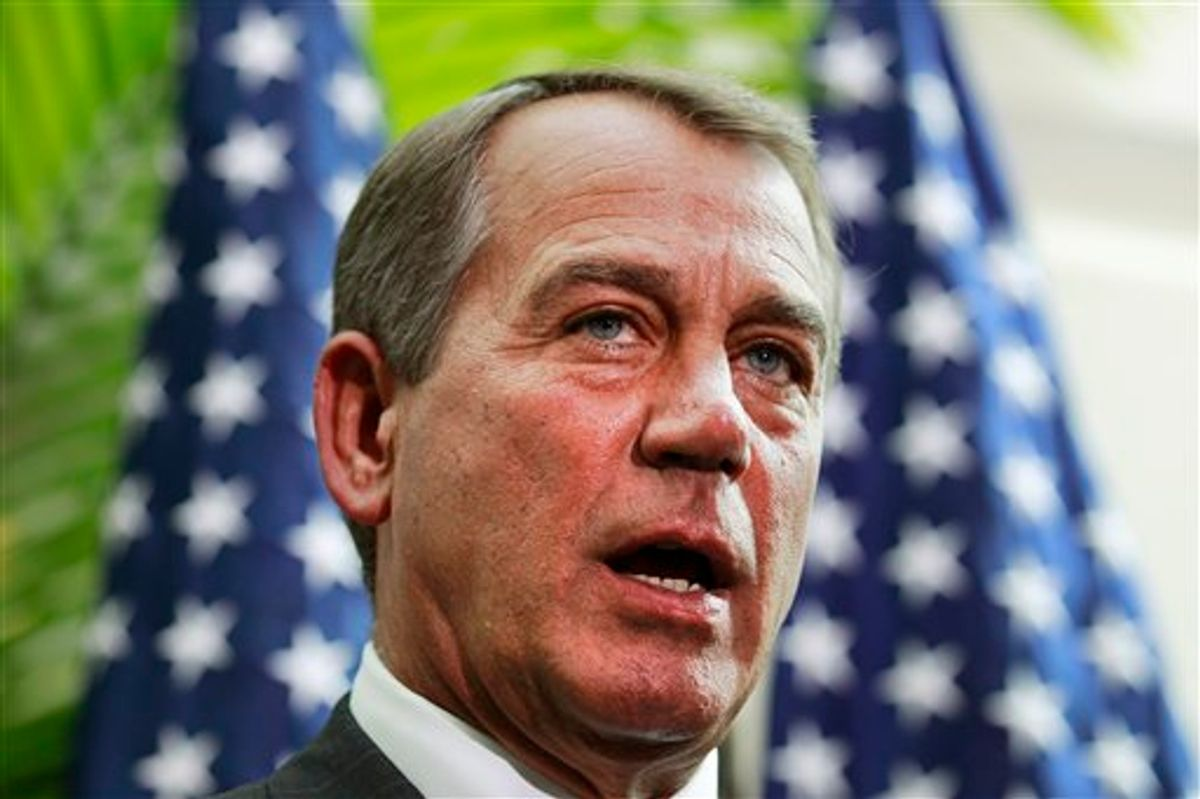 In this photo taken Jan. 19, 2011, House Speaker John Boehner of Ohio talks about the upcoming vote to to repeal the health care bill at a news conference on Capitol Hill in Washington. Republicans used their first two weeks in power, interrupted by tributes to the Arizona shooting victims, to excoriate the health law. Boehner says the next big priority is to codify a perennially renewed ban on federal funding for abortion, and to specify that it applies to health plans. (AP Photo/Alex Brandon) (AP)