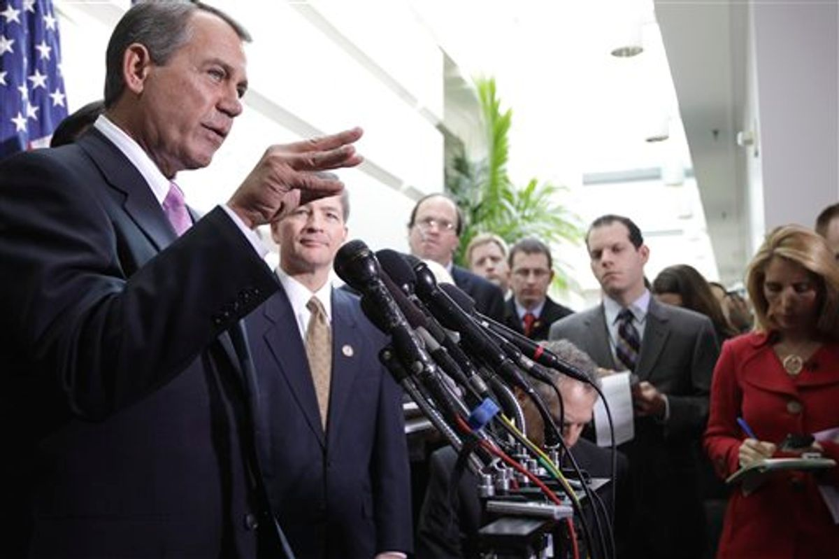 House Speaker John Boehner of Ohio, and Rep. Jeb Hensarling, R-Texas, meet with reporters on Capitol Hill in Washington,  Tuesday, Jan. 25, 2011, after their closed GOP caucus meeting ahead of President Barack Obama's State of the Union speech. (AP Photo/Charles Dharapak)  (AP)