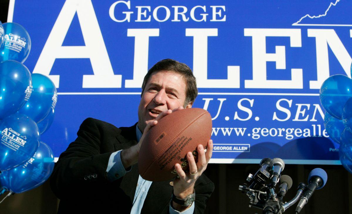 US Senator George Allen during a rally  in Springfield Springfield, Va., Saturday, Nov. 4, 2006.  (AP Photo/Steve Helber) (Steve Helber)