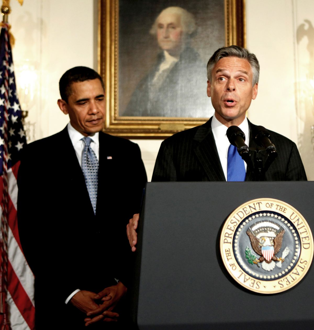 FILE - In this May 16, 2009 file photo, then-Utah Governor Jon Huntsman gives his acceptance remarks after his nomination by President Barack Obama as ambassador to China, in the Diplomatic Room at the White House in Washington. President Barack Obama pledged to bring change to Washington, but he is continuing one of the capital's most entrenched traditions: rewarding political supporters with ambassadorships. (AP Photo/Manuel Balce Ceneta, FILE) (Associated Press)