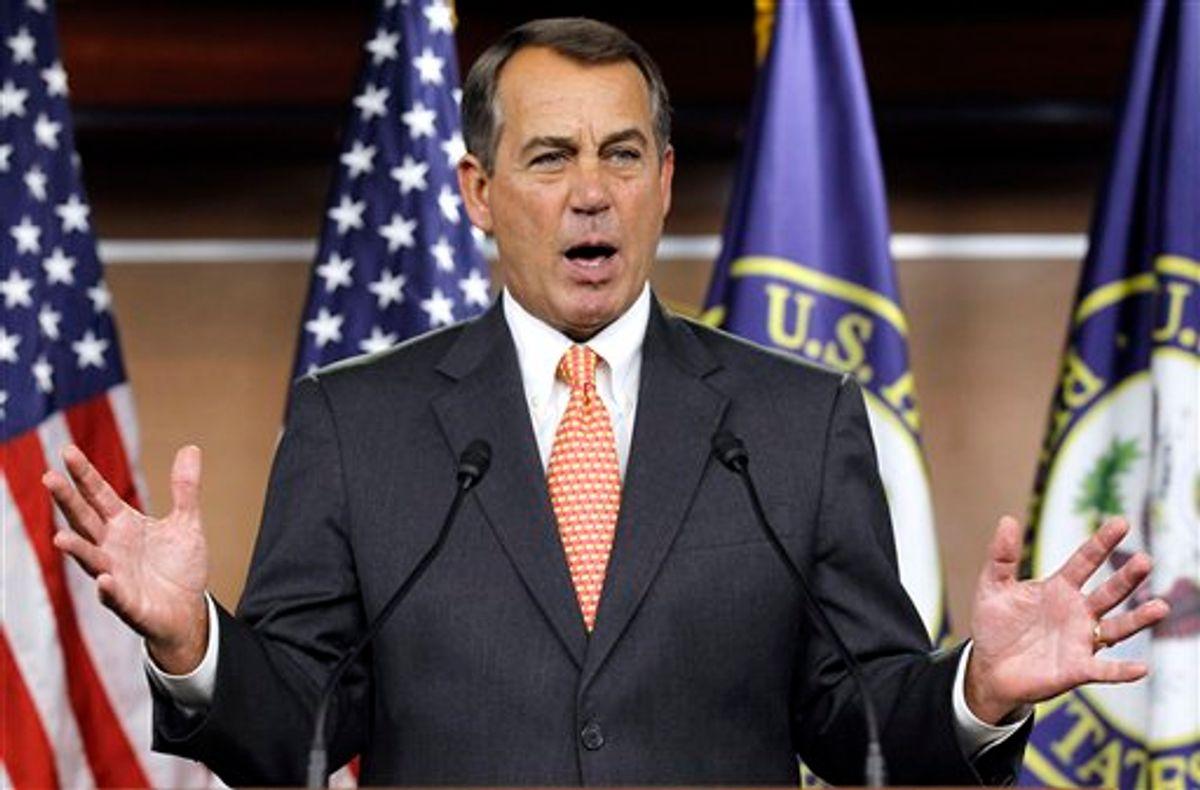 House Speaker John Boehner of Ohio gestures during a news conference on Capitol Hill in Washington, Thursday, Feb. 17, 2011. (AP Photo/Alex Brandon) (AP)
