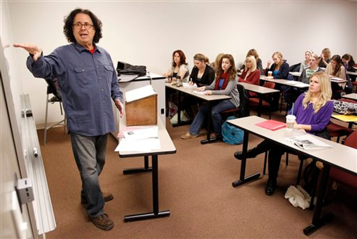 In this Jan. 20, 2011 photo, Mark Volman teaches a class in music management at Belmont University in Nashville, Tenn. Volman, who was a founding member and manager of the music group The Turtles, is an assistant professor and the coordinator of the entertainment industry studies program at Belmont University . (AP Photo/Mark Humphrey) (AP)