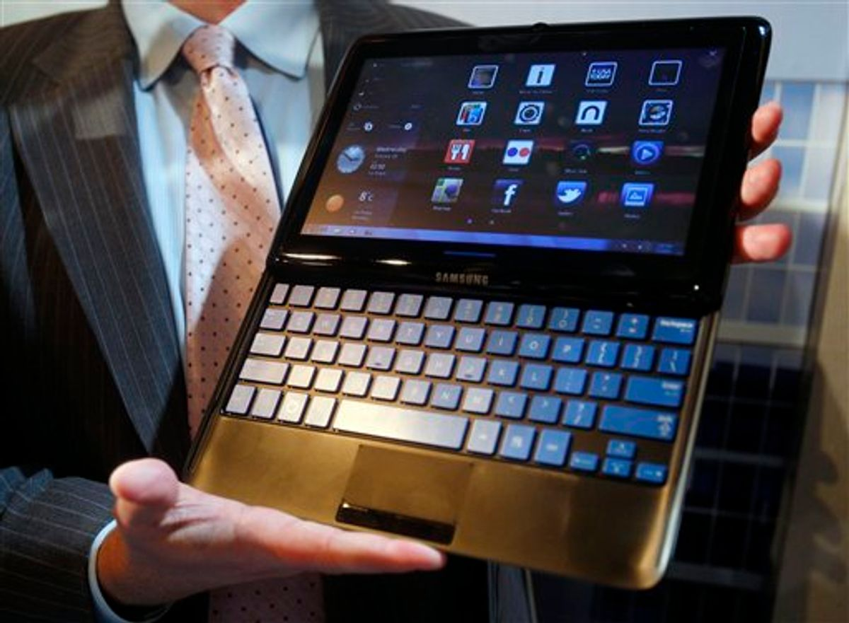 This Wednesday, Jan. 5, 2011 picture shows a Samsung 7 Series sliding PC during a preview for the Consumer Electronics Show in Las Vegas. The tablet computer contains a sliding keyboard. (AP Photo/Isaac Brekken) (AP)