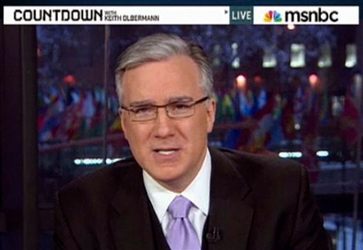 """This frame grab from MSNBC video, shows Keith Olbermann on """"Countdown"""" on Jan. 21, 2011. Olbermann returned from one last commercial break on """"Countdown"""" to tell viewers it was his last broadcast, and read a James Thurber short story in a three-minute exit statement. Simultaneously, MSNBC e-mailed a statement that """"MSNBC and Keith Olbermann have ended their contract."""" The network thanked him and said, """"we wish him well in his future endeavors."""" Neither MSNBC President Phil Griffin, Olbermann nor his manager responded to requests to explain an exit so abrupt that Olbermann's face was still being featured on an MSNBC promotional ad 30 minutes after he had said goodbye. (AP Photo/MSNBC) NO SALES, MANDATORY CREDIT (AP)"""