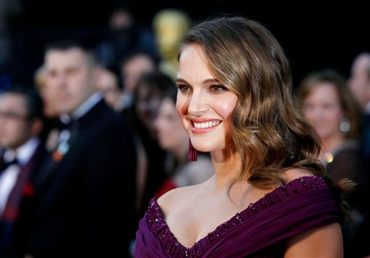 Actress Natalie Portman arrives before the 83rd Academy Awards on Sunday, Feb. 27, 2011, in the Hollywood section of Los Angeles. (AP Photo/Matt Sayles)  (AP)