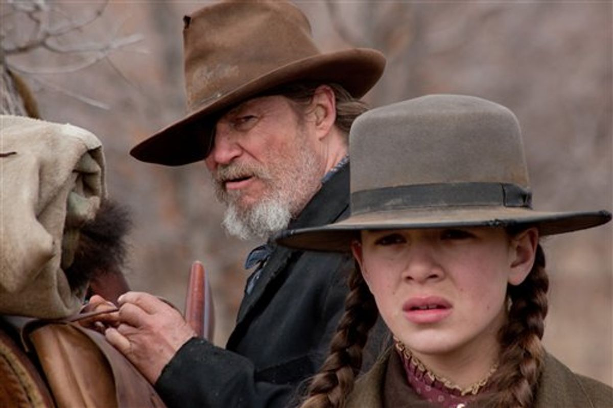 """In this undated film publicity image released by Paramount Pictures, Jeff Bridges, left, and Hailee Steinfeld are shown in a scene from """"True Grit.""""  The film was nominated for an Academy Award for best film, Tuesday, Jan. 25, 2011. The Oscars will be presented Feb. 27 at the Kodak Theatre in Hollywood. (AP Photo/Paramount Pictures)  (AP)"""