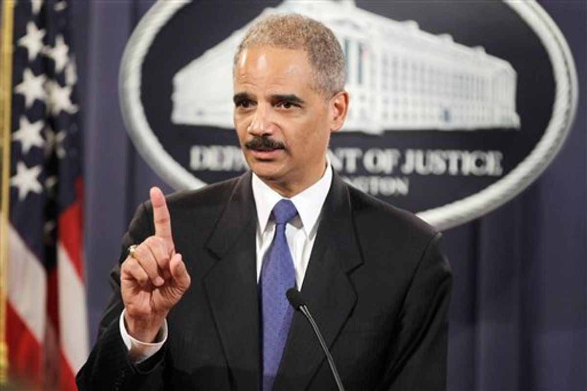 Attorney General Eric Holder answers a question about WikiLeaks during a news conference at the Justice Department in Washington, Monday, Nov. 29, 2010. (AP Photo/Charles Dharapak)    (AP)