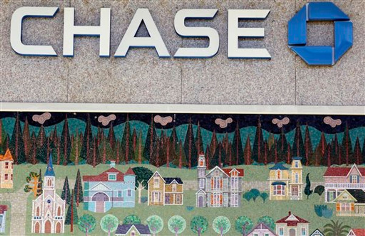 In this photo taken Jan. 5, 2011, a mural of a small town is shown at Chase bank in Santa Cruz, Calif. JPMorganChase & Co. (NYSE: JPM) today reported fourth-quarter 2010 net income of $4.8 billion, an increase of 47% compared with $3.3billion for the fourth quarter of 2009.  (AP Photo/Paul Sakuma)   (AP)