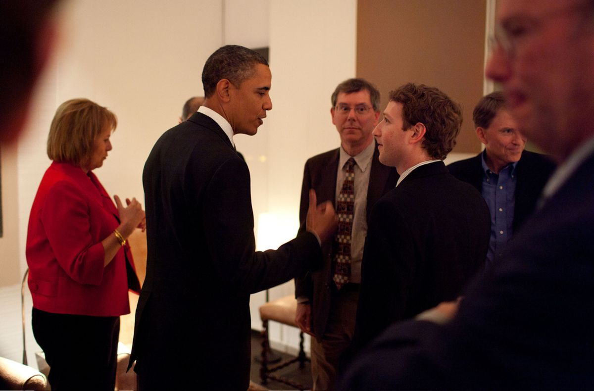 President Barack Obama talks with Facebook CEO Mark Zuckerberg before a dinner with Technology Business Leaders in Woodside, California, Feb. 17, 2011.  (Official White House Photo by Pete Souza) This official White House photograph is being made available only for publication by news organizations and/or for personal use printing by the subject(s) of the photograph. The photograph may not be manipulated in any way and may not be used in commercial or political materials, advertisements, emails, products, promotions that in any way suggests approval or endorsement of the President, the First Family, or the White House.   (The White House)
