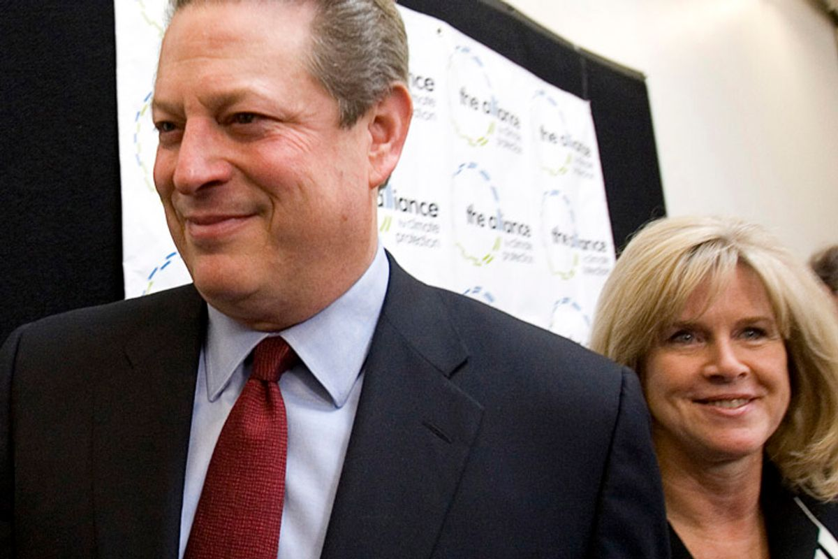 Former U.S. Vice President Al Gore (L) and his wife Tipper leave after holding a news conference in Palo Alto, California after winning the Nobel Peace Prize in this October 12, 2007 file photo. Former U.S. Vice President Al Gore and his wife, Tipper, have announced their separation after 40 years of marriage, according to media reports on June 1, 2010.  REUTERS/Kimberly White/Files    (UNITED STATES - Tags: POLITICS PROFILE)  (© Kimberly White / Reuters)