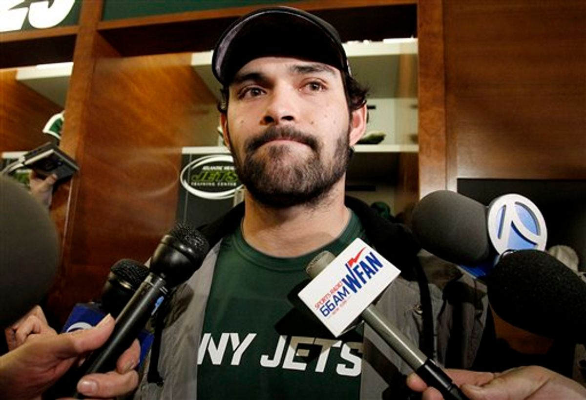 New York Jets quarterback Mark Sanchez talks to reporters before cleaning out his locker, Monday, Jan. 24, 2011 in Florham Park, N.J. The Jets lost to the Pittsburgh Steelers 24-19 in the AFC championship a day earlier. (AP Photo/Julio Cortez) (AP)