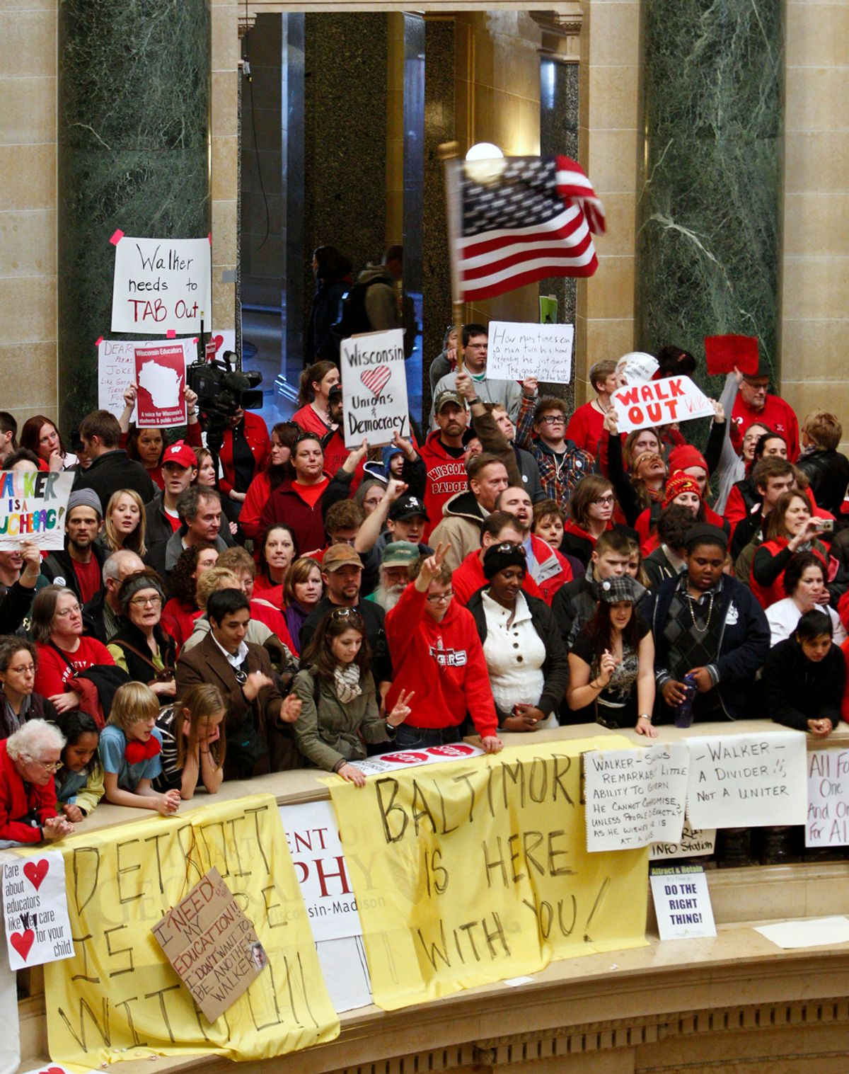 FILE - In this Feb. 18, 2011, file photo opponents to the Wisconsin Gov. Scott Walker's bill to eliminate collective bargaining rights for many state workers protest in the rotunda of the State Capitol in Madison, Wis. Stung by the wave of anti-union sentiment in Wisconsin and more than a dozen other states, organized labor is re-energizing as a political force and trying to take advantage of the growing backlash.  They expect momentum from the protests to spill into the 2012 election cycle. (AP Photo/Andy Manis, File) (Andy Manis)