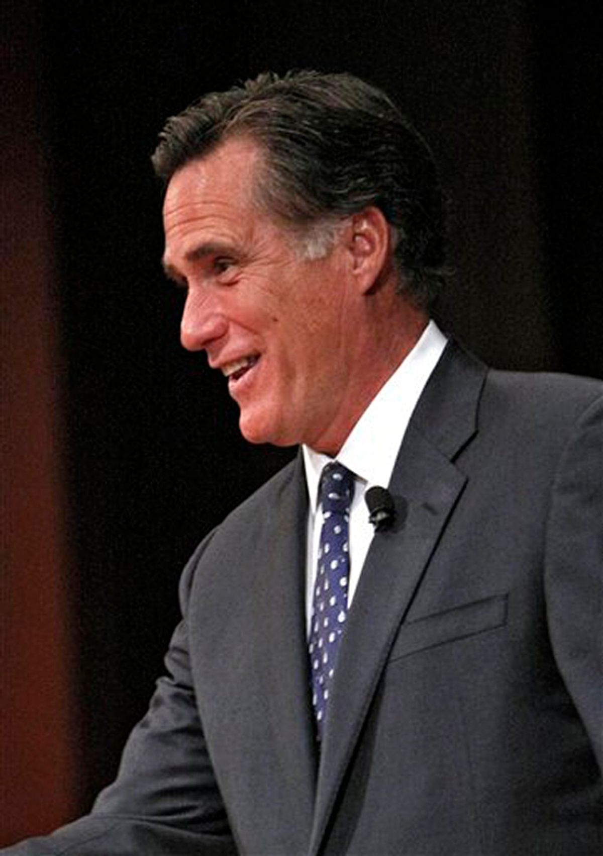 Former Massachusetts Governor Mitt Romney points to a friend in the audience before speaking in the Chase Auditorium in Chicago on Wednesday,  March 24, 2010. (AP Photo/Charles Cherney) (Charles Cherney)