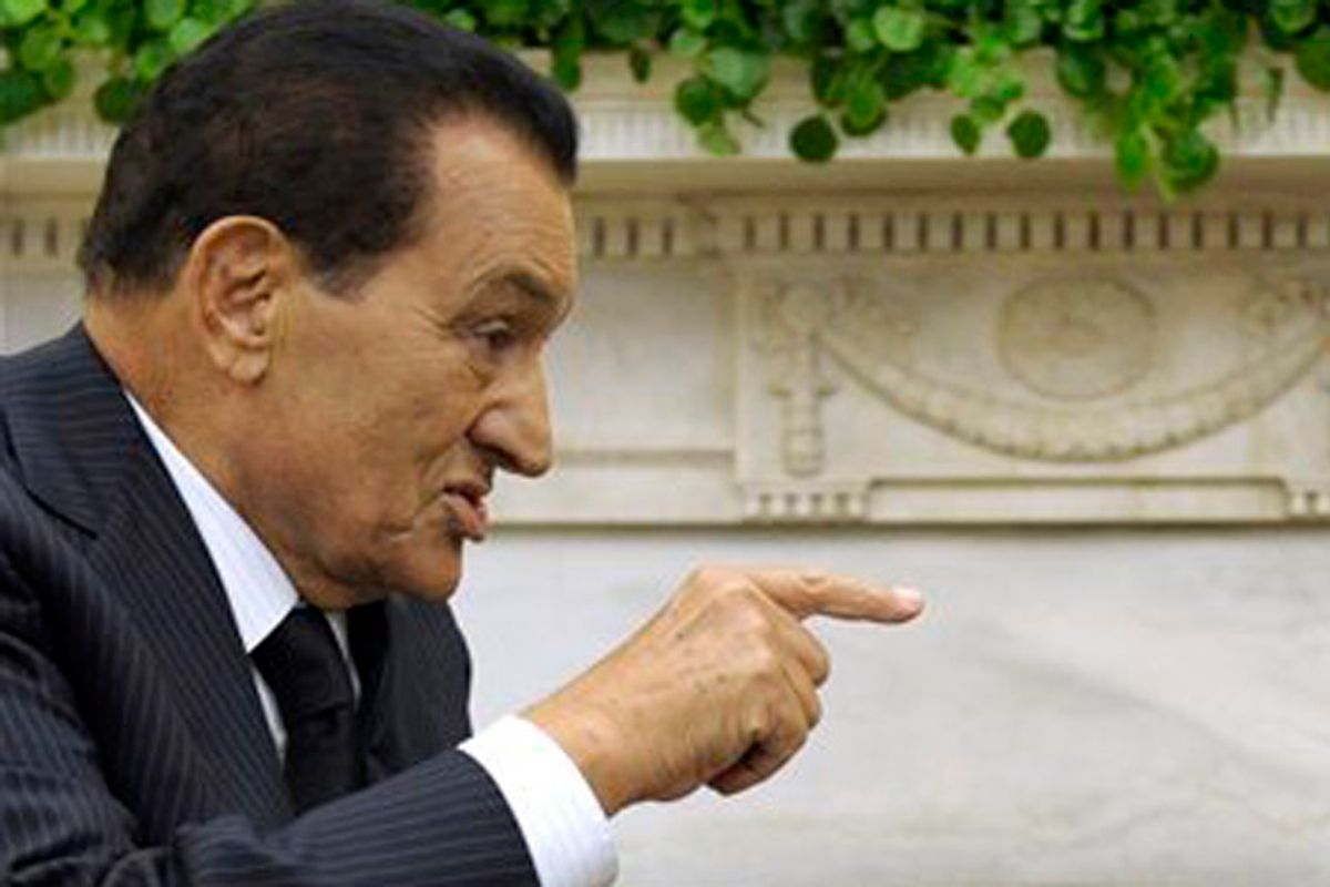 FILE - In a Sept. 1, 2010 file photo, President Barack Obama meets with Egyptian President Hosni Mubarak, in the Oval Office of the White House in Washington. More than a quarter-million people flooded Cairo's main square Tuesday, Feb. 1, 2011 in a stunning and jubilant array of young and old, urban poor and middle class professionals, mounting by far the largest protest yet in a week of unrelenting demands for Mubarak to leave after nearly 30 years in power. (AP Photo/Susan Walsh, File) (Susan Walsh)