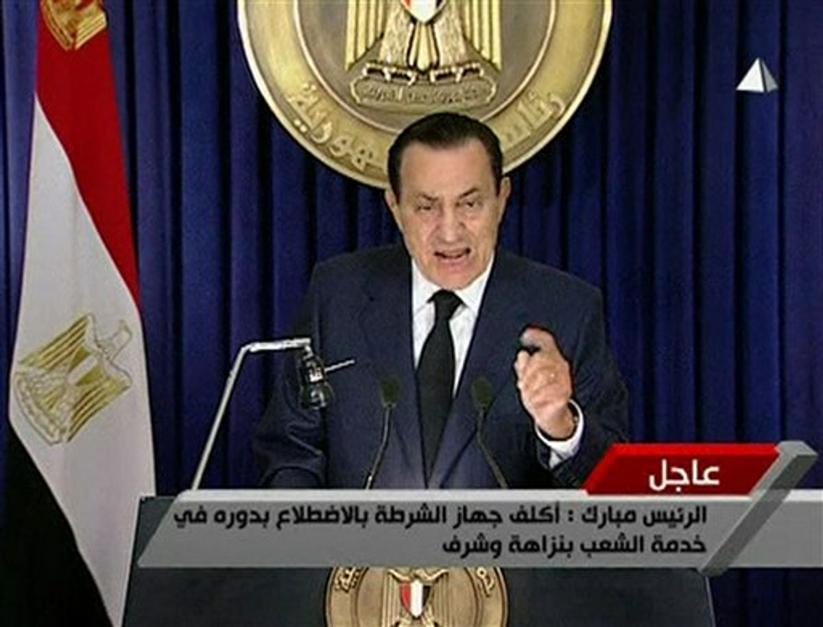 In this image from Egyptian state television  aired Tuesday evening Feb 1 2011, Egyptian President Hosni Mubarak makes what has been billed as an important speech.  Mubarak has faced a week of public and international pressure to step down from the role he has held for 30 years, culminating in a  day when a quarter-million people turned in the largest protest yet to demand his ouster. (AP Photo/Egyptian state television via APTN) EGYPT OUT TV OUT  (AP)