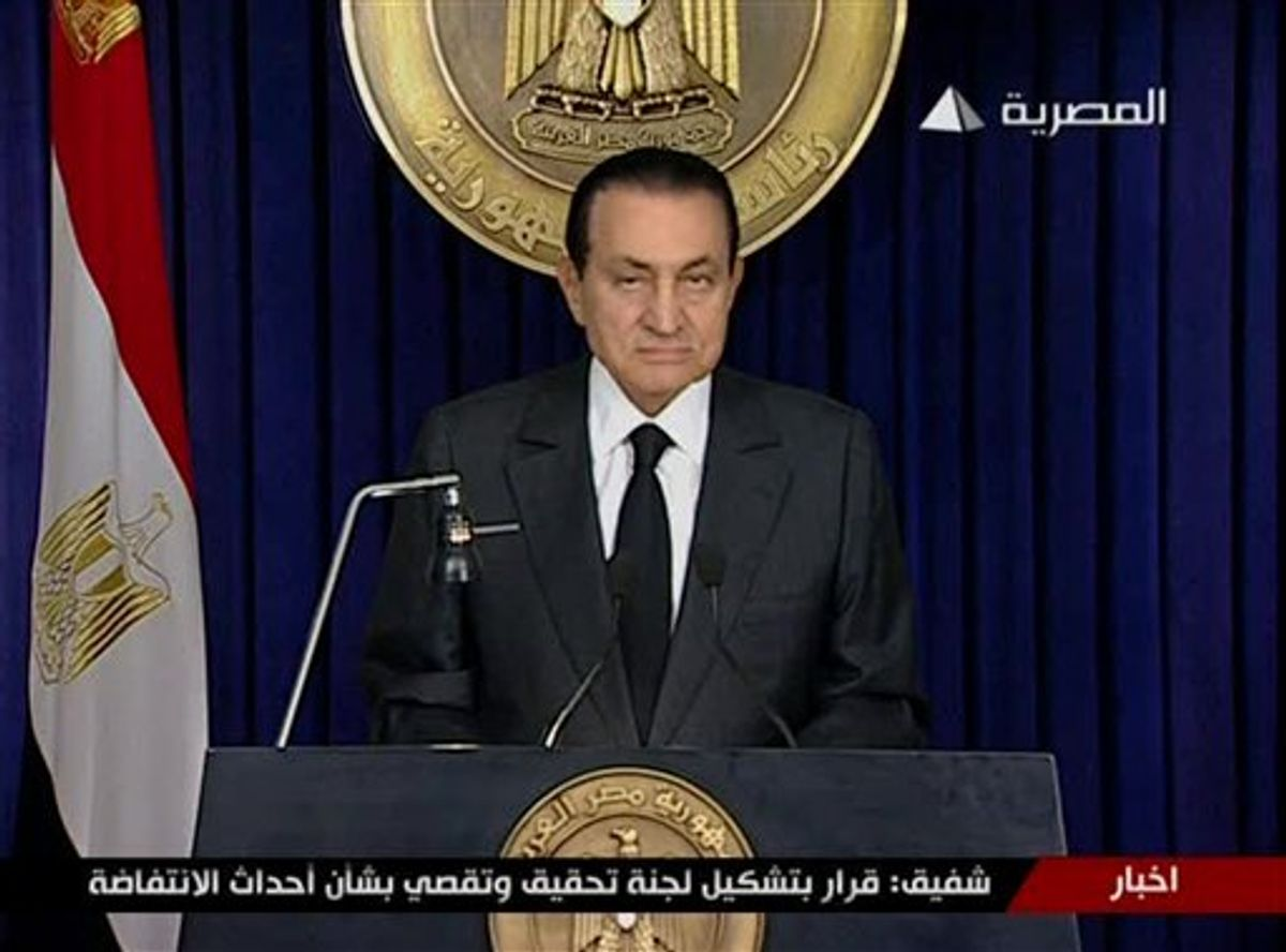 Egyptian President Hosni Mubarak begins to make a televised statement to his nation in this image taken from TV aired Thursday Feb. 10, 2011. Following more than two weeks of protests, anti-government demonstrators have been given hope by official statements suggesting that President Mubarak may step down after 30 years in power.  (AP Photo/ Egypt TV via APTN)  EGYPT OUT TV OUT  (AP)