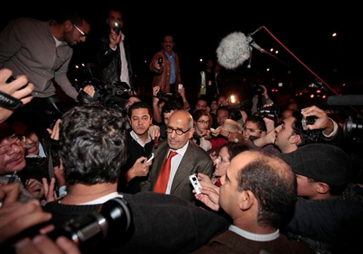 Former Director General of the International Atomic Energy Agency, IAEA, and Nobel Peace Prize winner Mohamed ElBaradei talks to members of the media as he arrives at Cairo's airport in Egypt, from Austria, Thursday, Jan. 27, 2011. ElBaradei told reporters that 'the regime has not been listening.' He urged the Egyptian regime to exercise restraint with protesters, saying they have been met with a good deal of violence which could lead to an 'explosive situation.' (AP Photo/Lefteris Pitarakis) (AP)