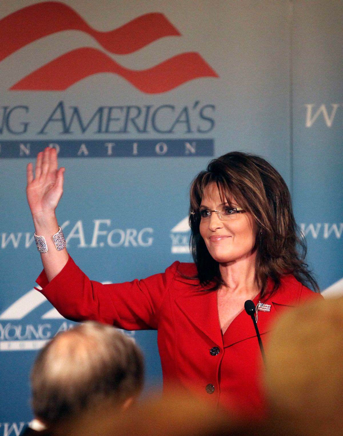 Former Republican vice Presidential candidate and Alaskan Governor Sarah Palin receives a standing ovation as she arrives at the Reagan Ranch Center in Santa Barbara, Friday Feb. 4, 2011. Palin was the headline speaker for  the Ronald Reagan Centennial celebration opening reception hosted by the Young Americans Foundation.  (AP Photo/Spencer Weiner) (Spencer Weiner)