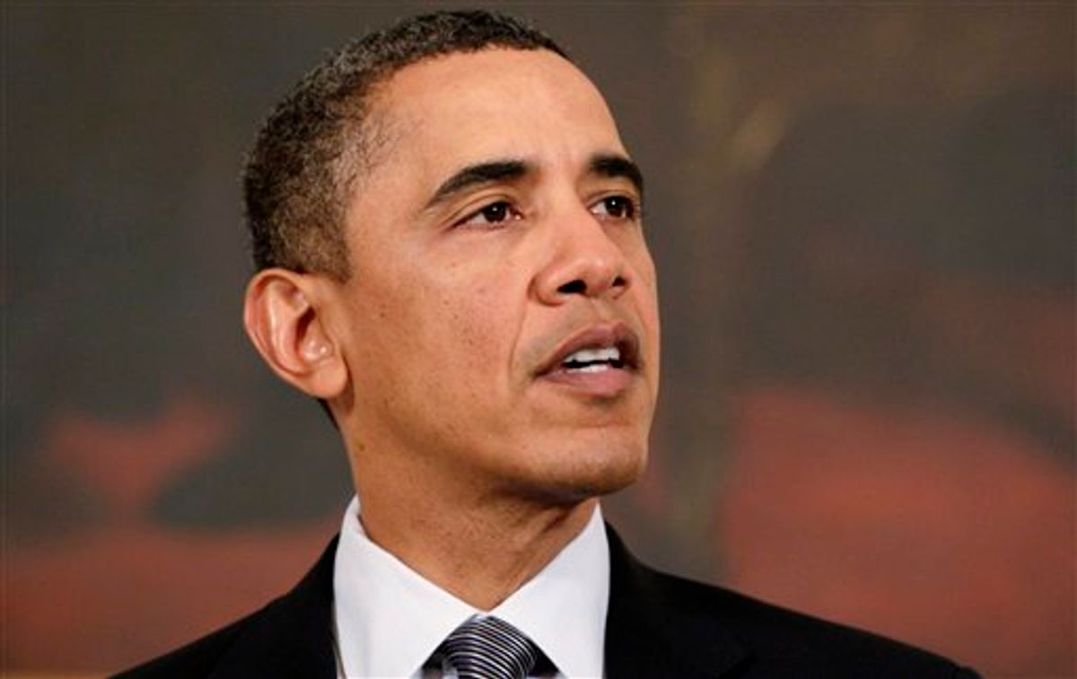 President Barack Obama makes a statement to reporters about Egypt in the State Dining Room of the White House in Washington, Friday, Jan. 28, 2011. (AP Photo/Carolyn Kaster) (AP)