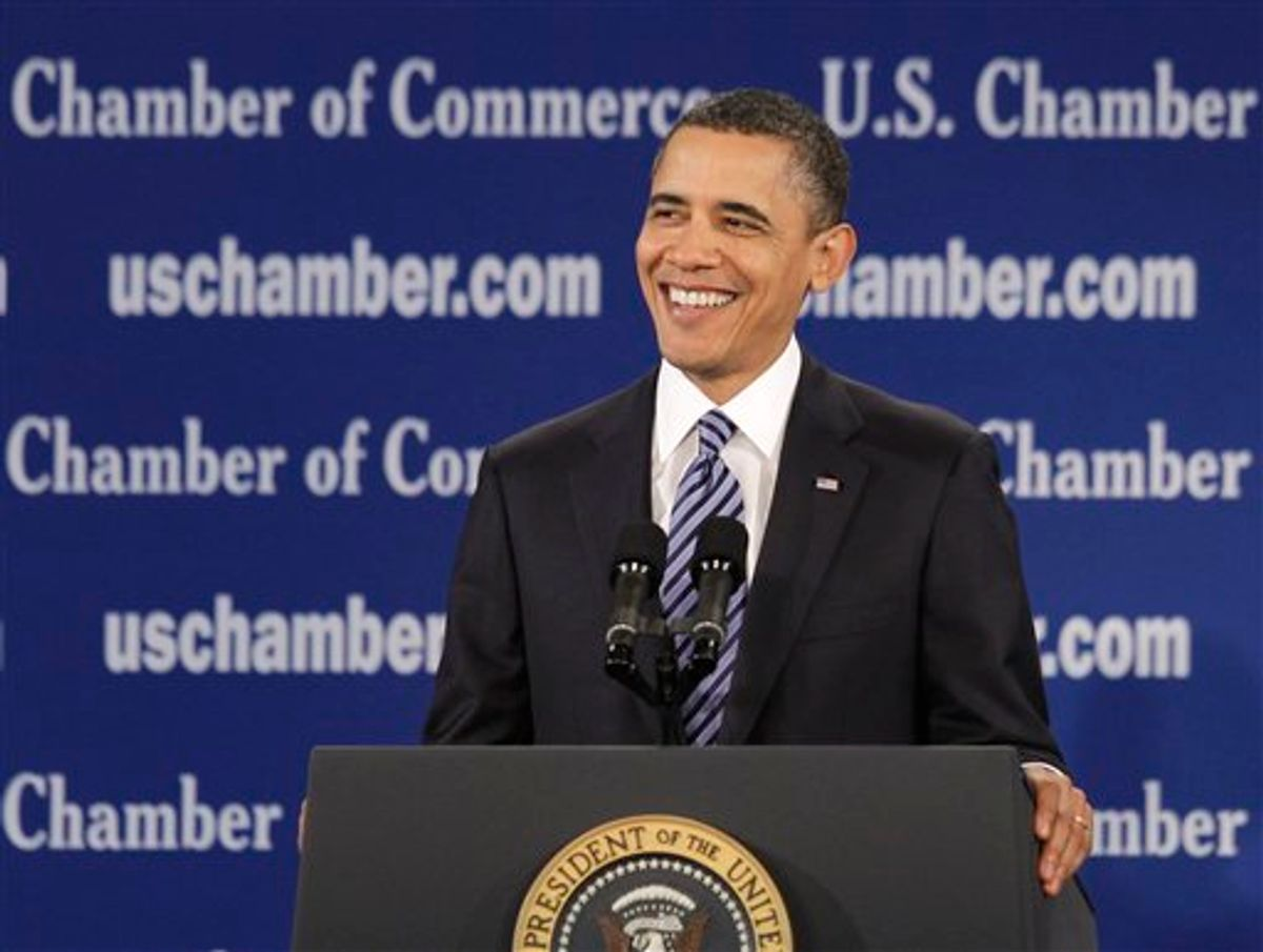 President Barack Obama speaks at the U.S. Chamber of Commerce in Washington, Monday, Feb. 7, 2011. (AP Photo/Charles Dharapak) (AP)