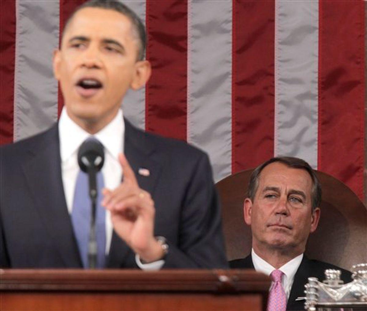 House Speaker John Boehner of Ohio watches as President Barack Obama delivers his State of the Union address on Capitol Hill in Washington, Tuesday, Jan. 25, 2011.  (AP Photo/Pablo Martinez Monsivais, Pool) (AP)